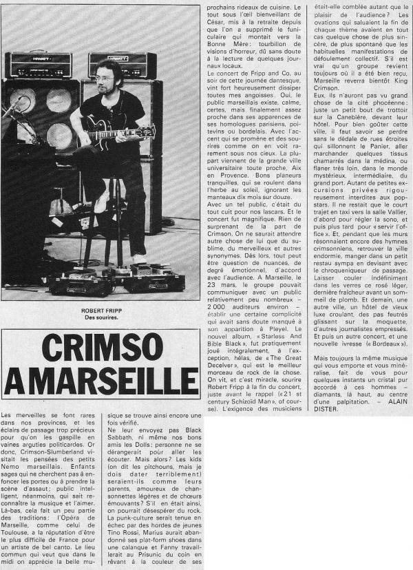 Scan de l'article Crimso à Marseille