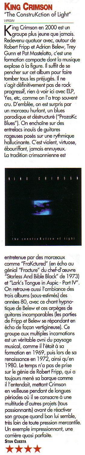 Scan de la chronique de The Construkction of Light